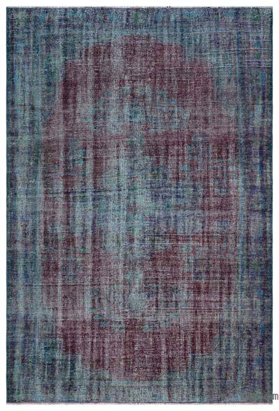 Blue, Red Over-dyed Turkish Vintage Rug - 5'8'' x 8'5'' (68 in. x 101 in.)