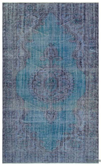 Purple, Turquoise Over-dyed Turkish Vintage Rug - 5'5'' x 9' (65 in. x 108 in.)