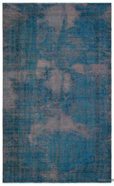 Blue Over-dyed Turkish Vintage Rug - 5'9'' x 9'5'' (69 in. x 113 in.)