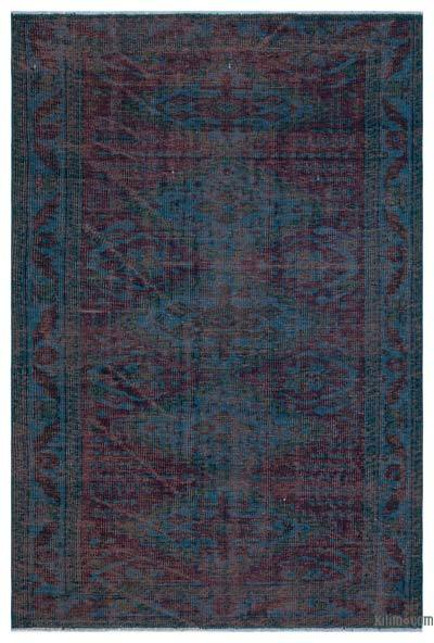 Turquoise, Red Over-dyed Turkish Vintage Rug - 4'11'' x 7'3'' (59 in. x 87 in.)
