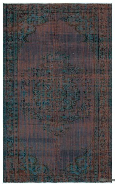 Turquoise Over-dyed Turkish Vintage Rug - 5'2'' x 8'2'' (62 in. x 98 in.)