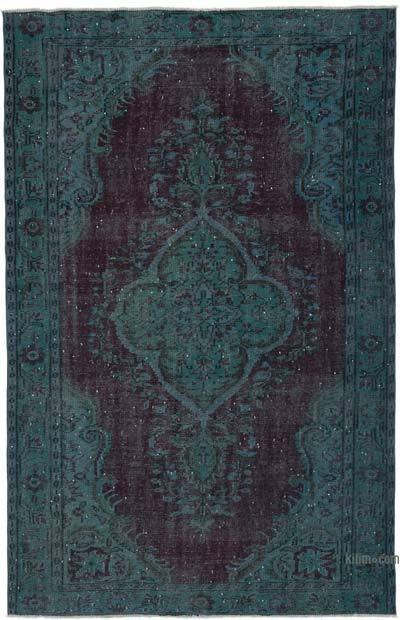 Turquoise, Red Over-dyed Turkish Vintage Rug - 5'9'' x 8'11'' (69 in. x 107 in.)