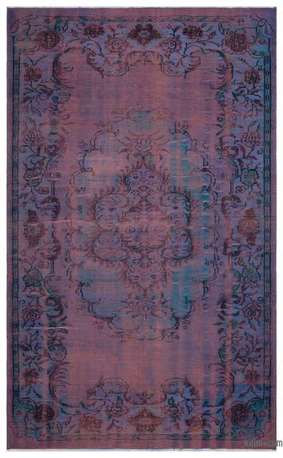 Purple, Pink Over-dyed Turkish Vintage Rug - 5'7'' x 9'1'' (67 in. x 109 in.)