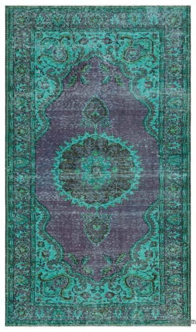 Turquoise Over-dyed Turkish Vintage Rug - 5'5'' x 9'3'' (65 in. x 111 in.)