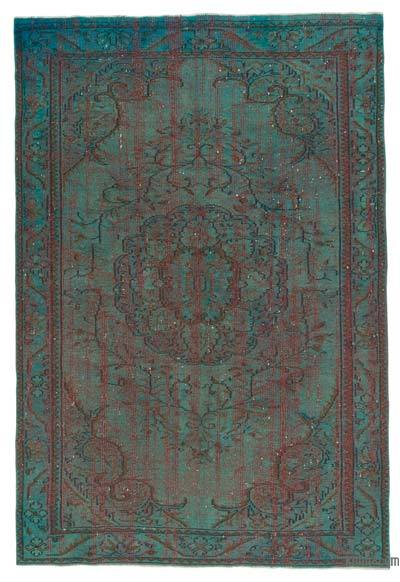 Turquoise Over-dyed Turkish Vintage Rug - 5'10'' x 8'8'' (70 in. x 104 in.)