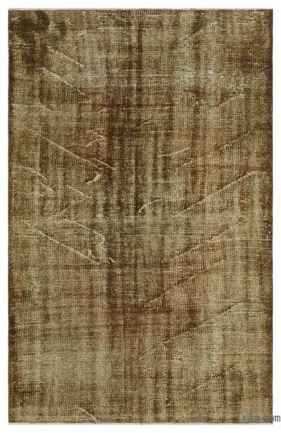 Brown Over-dyed Turkish Vintage Rug - 4'3'' x 6'8'' (51 in. x 80 in.)