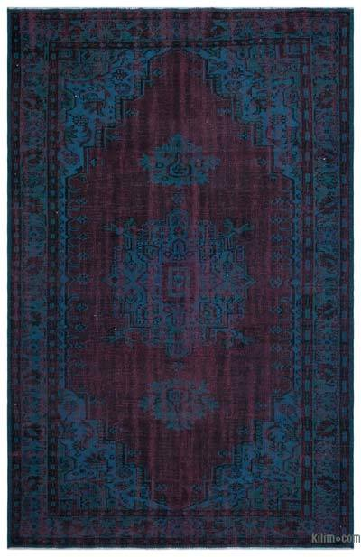 Blue, Red Over-dyed Turkish Vintage Rug - 6'2'' x 9'10'' (74 in. x 118 in.)