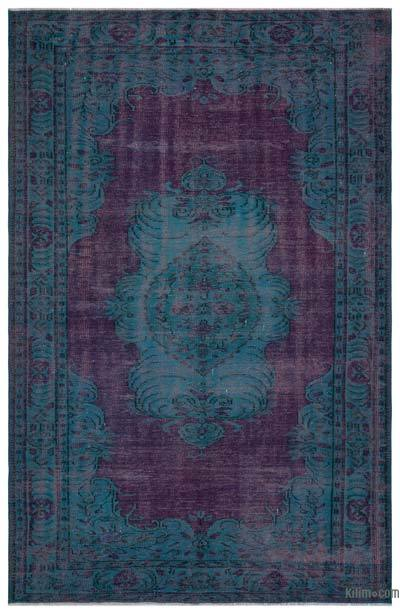 Turquoise, Purple Over-dyed Turkish Vintage Rug - 6'4'' x 9'7'' (76 in. x 115 in.)