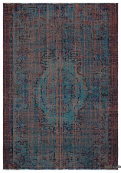Turquoise Over-dyed Turkish Vintage Rug - 5'8'' x 8' (68 in. x 96 in.)