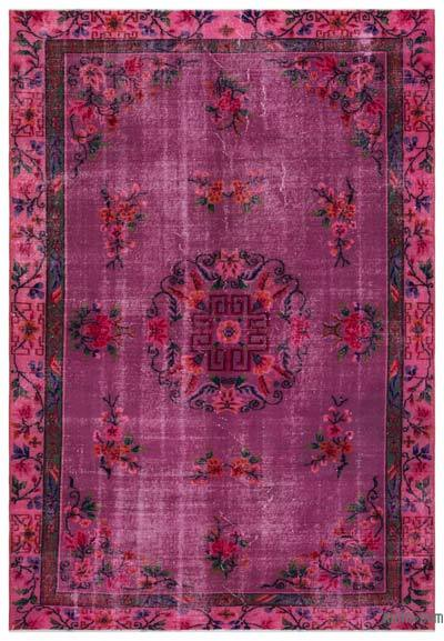 Fuchsia, Pink Over-dyed Turkish Vintage Rug - 6'3'' x 9'3'' (75 in. x 111 in.)