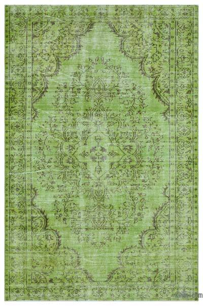 Green Over-dyed Turkish Vintage Rug - 5'11'' x 9'2'' (71 in. x 110 in.)