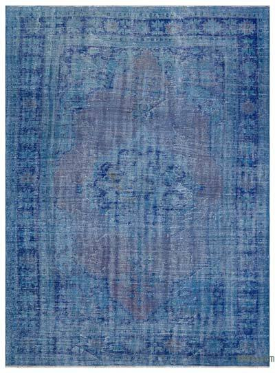 Blue Over-dyed Turkish Vintage Rug - 7'2'' x 9'7'' (86 in. x 115 in.)