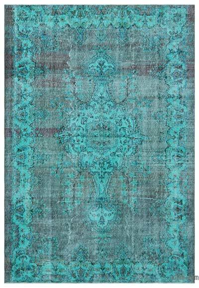 Turquoise Over-dyed Turkish Vintage Rug - 6'5'' x 9'2'' (77 in. x 110 in.)