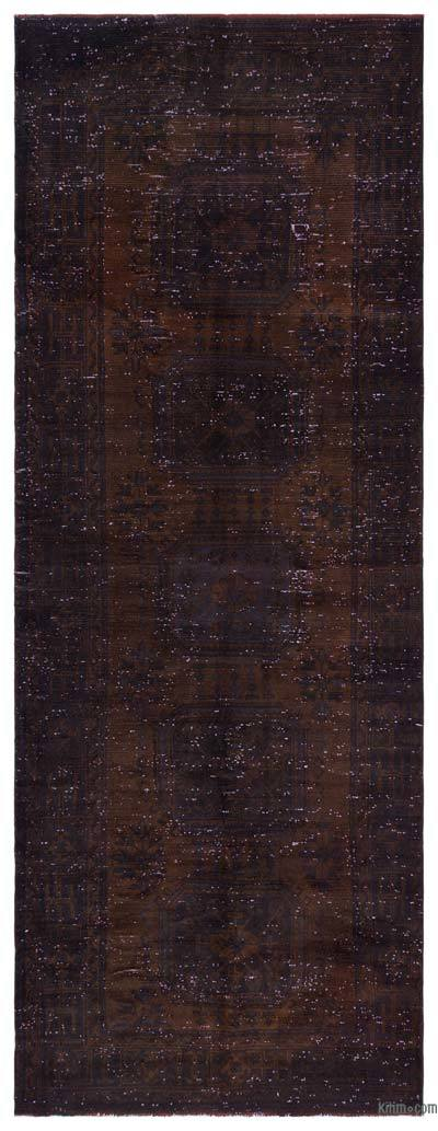 Brown Over-dyed Turkish Vintage Rug - 4'5'' x 11'4'' (53 in. x 136 in.)