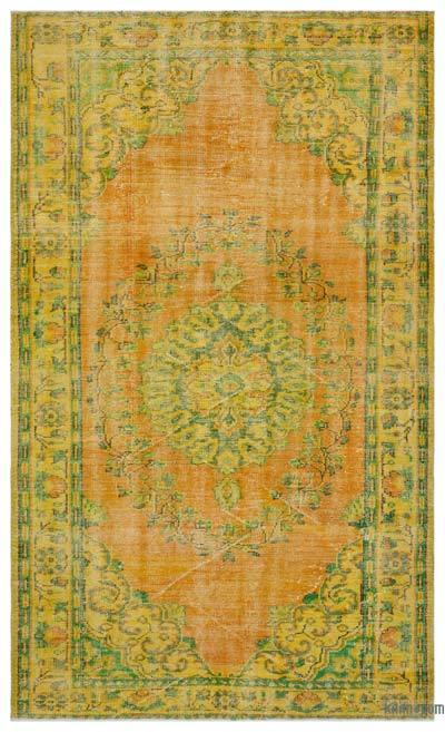 Yellow, Orange Over-dyed Turkish Vintage Rug - 6'1'' x 9'8'' (73 in. x 116 in.)