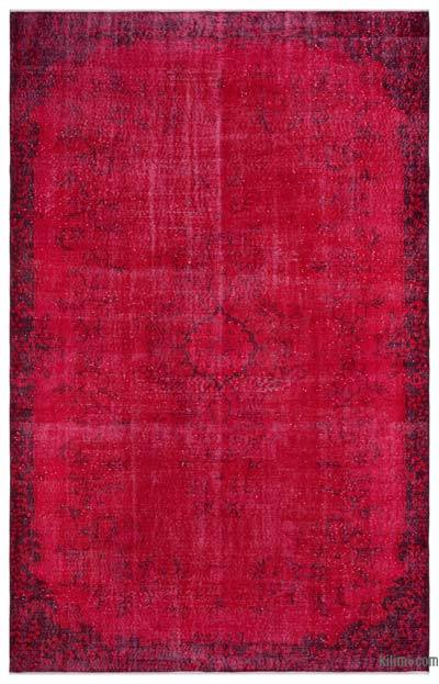 Red Over-dyed Turkish Vintage Rug - 6' x 9'5'' (72 in. x 113 in.)