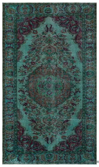 Turquoise Over-dyed Turkish Vintage Rug - 5'5'' x 9'1'' (65 in. x 109 in.)
