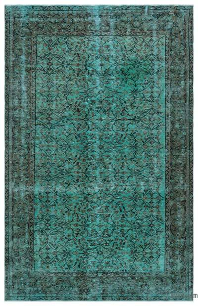 Turquoise Over-dyed Turkish Vintage Rug - 5'7'' x 8'8'' (67 in. x 104 in.)