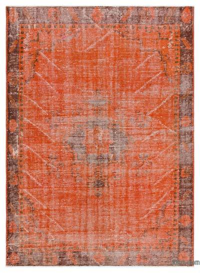 Orange Over-dyed Turkish Vintage Rug - 4'9'' x 6'6'' (57 in. x 78 in.)