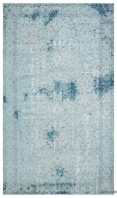 Light Blue Over-dyed Turkish Vintage Rug - 5'5'' x 9'2'' (65 in. x 110 in.)