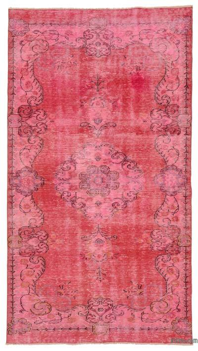Pink, Fuchsia Over-dyed Turkish Vintage Rug - 4'11'' x 8'10'' (59 in. x 106 in.)