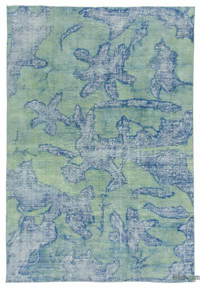 Blue Over-dyed Turkish Vintage Rug - 6'6'' x 9'9'' (78 in. x 117 in.)