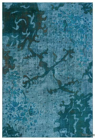 Turquoise Over-dyed Turkish Vintage Rug - 6'7'' x 10' (79 in. x 120 in.)