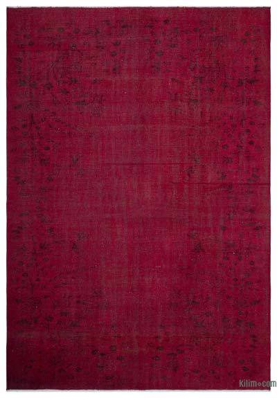 Red Over-dyed Turkish Vintage Rug - 6'4'' x 9'1'' (76 in. x 109 in.)