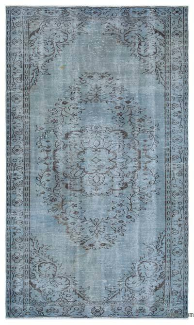 Blue Over-dyed Turkish Vintage Rug - 4'10'' x 8'3'' (58 in. x 99 in.)