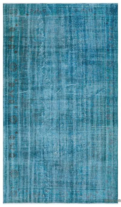 Turquoise Over-dyed Turkish Vintage Rug - 5'8'' x 9'10'' (68 in. x 118 in.)