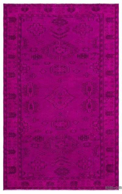 Fuchsia Over-dyed Turkish Vintage Rug - 5'5'' x 8'7'' (65 in. x 103 in.)