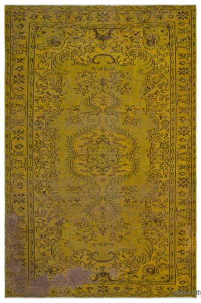 Yellow Over-dyed Turkish Vintage Rug - 6'6'' x 9'5'' (78 in. x 113 in.)
