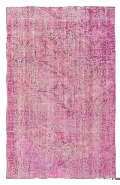 Pink Over-dyed Turkish Vintage Rug - 4'8'' x 7'4'' (56 in. x 88 in.)