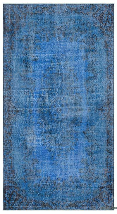 Blue Over-dyed Turkish Vintage Rug - 3'9'' x 6'11'' (45 in. x 83 in.)