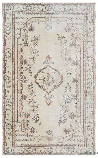Beige Over-dyed Turkish Vintage Rug - 5'5'' x 8'9'' (65 in. x 105 in.)