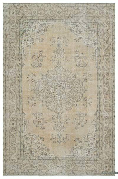Beige Over-dyed Turkish Vintage Rug - 6'3'' x 9'4'' (75 in. x 112 in.)