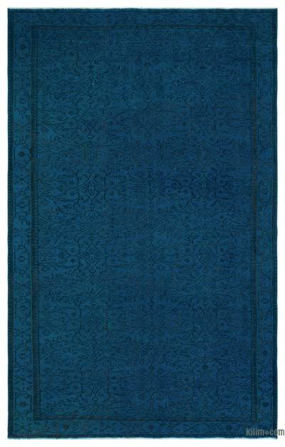 Blue Over-dyed Turkish Vintage Rug - 5'5'' x 8'5'' (65 in. x 101 in.)