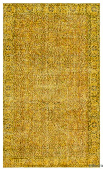 Yellow Over-dyed Turkish Vintage Rug - 4'11'' x 8'3'' (59 in. x 99 in.)