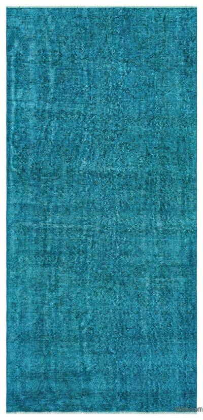 Turquoise Over-dyed Turkish Vintage Rug - 3'1'' x 6'7'' (37 in. x 79 in.)