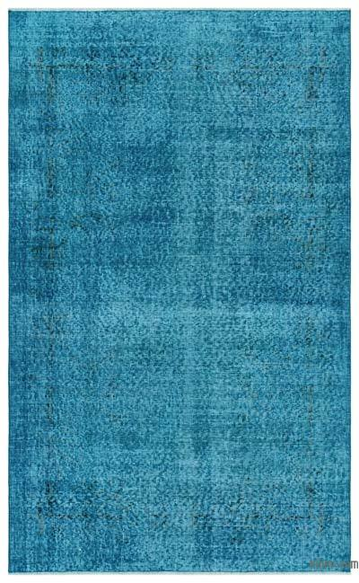 Turquoise Over-dyed Turkish Vintage Rug - 4'2'' x 6'11'' (50 in. x 83 in.)