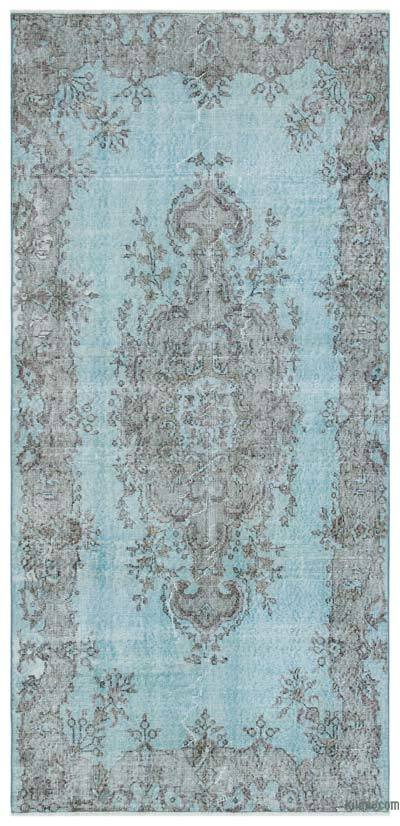 Blue Over-dyed Turkish Vintage Rug - 3'8'' x 7'9'' (44 in. x 93 in.)