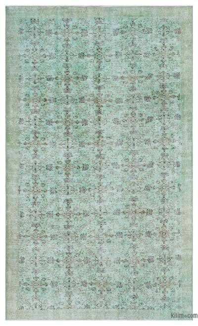 Green Over-dyed Turkish Vintage Rug - 5'3'' x 8'7'' (63 in. x 103 in.)