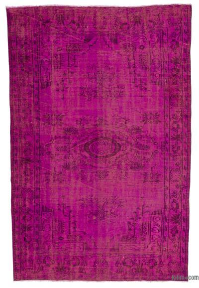 Fuchsia Over-dyed Turkish Vintage Rug - 5'11'' x 9'3'' (71 in. x 111 in.)