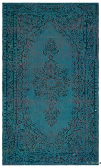 Turquoise Over-dyed Turkish Vintage Rug - 6'2'' x 10' (74 in. x 120 in.)