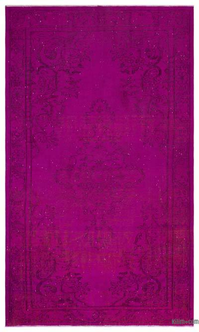 Fuchsia Over-dyed Turkish Vintage Rug - 5'9'' x 9'3'' (69 in. x 111 in.)