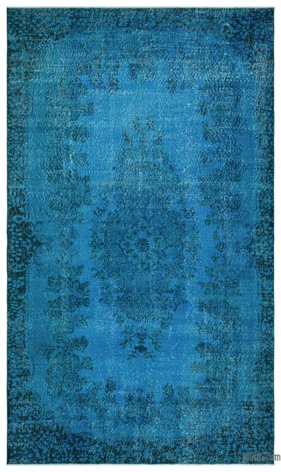 Turquoise Over-dyed Turkish Vintage Rug - 5'10'' x 10'1'' (70 in. x 121 in.)