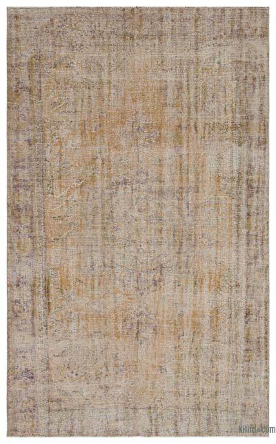 Beige Over-dyed Turkish Vintage Rug - 5'11'' x 9'7'' (71 in. x 115 in.)