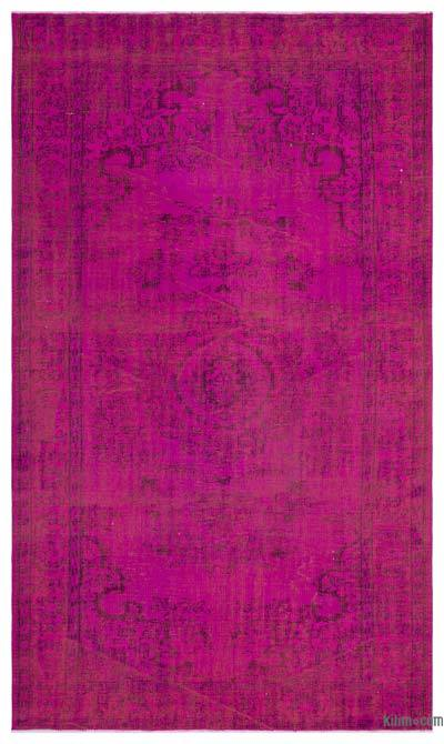 Fuchsia Over-dyed Turkish Vintage Rug - 5'7'' x 9'3'' (67 in. x 111 in.)