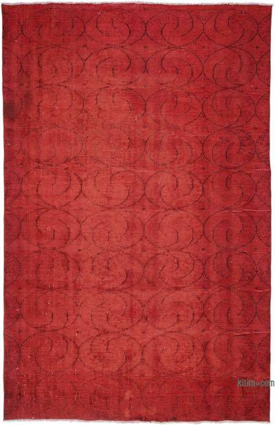 Red Over-dyed Turkish Vintage Rug - 6'1'' x 9'6'' (73 in. x 114 in.)