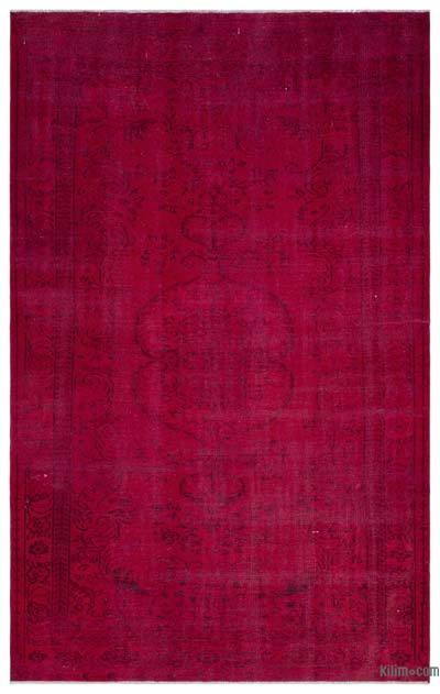 Red Over-dyed Turkish Vintage Rug - 6'5'' x 10' (77 in. x 120 in.)